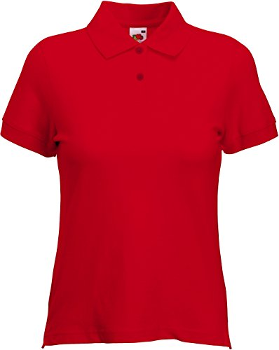 Fruit of the Loom Ladies Lady-Fit Short Sleeve Polo Shirt (S) (Red) from Fruit of the Loom