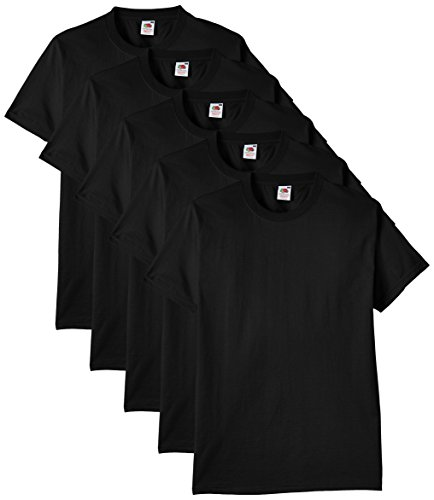 Fruit of the Loom Men's Heavy T-Shirt Pack of 5, Black, Medium from Fruit of the Loom