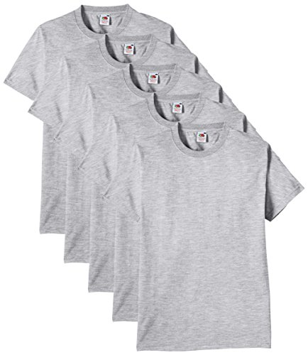 Fruit of the Loom Men's Heavy T-Shirt Pack of 5, Heather Grey, XXX-Large from Fruit of the Loom