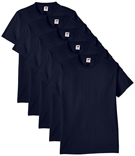 Fruit of the Loom Men's Heavy T-Shirt Pack of 5, Navy, XX-Large from Fruit of the Loom