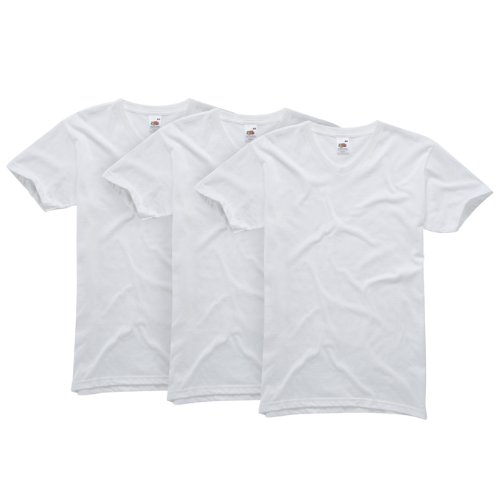 Fruit of the Loom Men's Original V-Neck T-Shirt 3-Pack - White - Large from Fruit of the Loom
