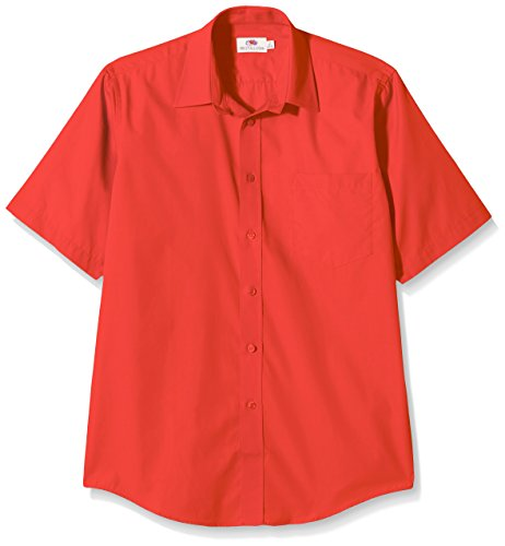 FRUIT OF THE LOOM Men's Poplin Short Sleeve Shirt, Red, XXL UK from Fruit of the Loom