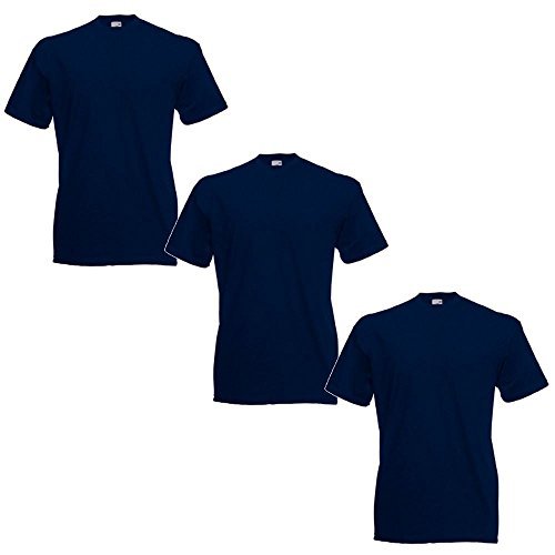 Fruit of the Loom Men's Valueweight Tee-3 Pack T-Shirt, Blue (Deep Navy 0_Blue(Deep Navy), X-Large (Size:XL) (Pack of 3) from Fruit of the Loom