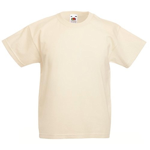 New Fruit of the Loom Childrens Kids Value Cotton T Shirt Natural 3/4 from Fruit of the Loom