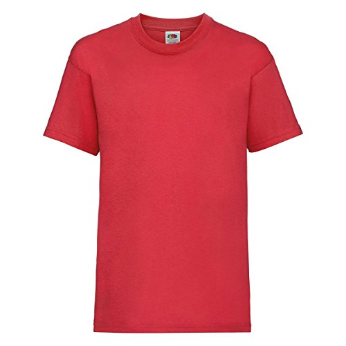 New Fruit of the Loom Childrens Kids Value Cotton T Shirt Red 12 from Fruit of the Loom