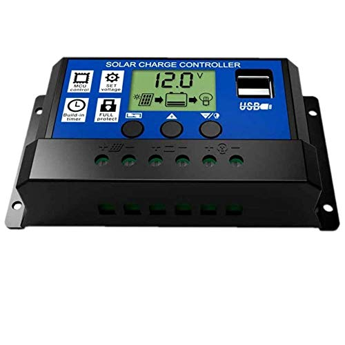 Solar Charger Controller 30A, Solar Panel Battery Regulator 12V/24V Auto Paremeter Adjustable LCD Display with Dual USB Load Timer Setting ON/Off Hours from Fuhuihe