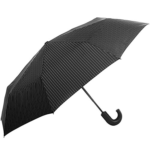 Fulton Chelsea 2 City Stripe Black/Steel Umbrella City Stripe Black/Steel Print One Size from Fulton