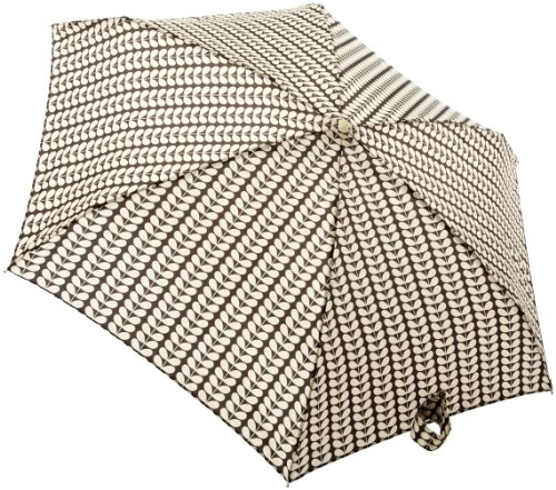 Orla Kiely by Fulton Orla Tiny 2 Small Bi-colour Stem Ochre Women's Umbrella Small Bi-Colour Stem Black & Cream from Fulton