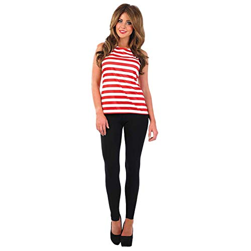 Fun Shack Womens Puzzle Book Character Costume Adults Red & White Striped Top - Large from Fun Shack