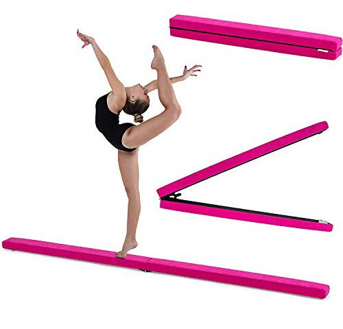 Fun!ture 7ft Folding Gymnastics Balance Beam | Faux Suede | Kids Fitness Training | Home Gym Exercise | Stainless Steel Feet | Soft-Close Hinges | Non Slip | Made in the UK (Cerise) from Fun!ture