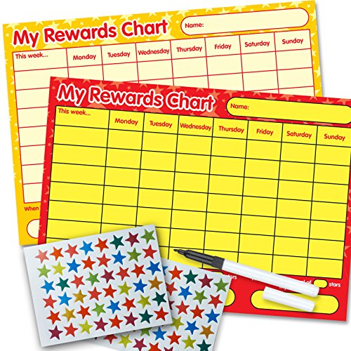 2 x Re-usable Reward Chart, (including FREE Star Stickers and Pen) - red/yellow, yellow stars from Funky Monkey House