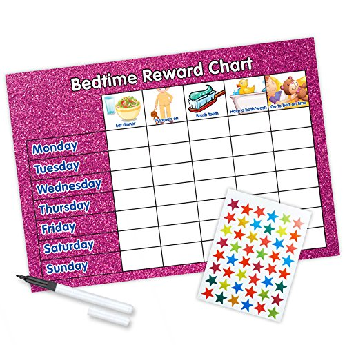 Glitter Bedtime Reward Chart (including FREE Star Stickers and Pen) Pink from Funky Monkey House