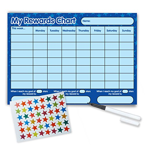 Re-usable Reward Chart, (including FREE Star Stickers and Pen) -Blue Stars from Funky Monkey House