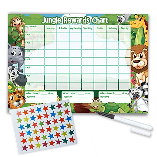 Re-usable Reward Chart, (including FREE Star Stickers and Pen) -Jungle Design from Funky Monkey House