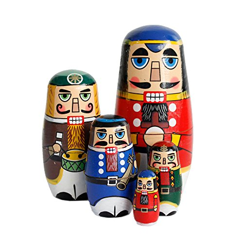 FunnyGoo Colourful Handmade Wooden Nesting Doll Russian Doll Kits Xmas Decoration (Nutcracker Soldier) from FunnyGoo