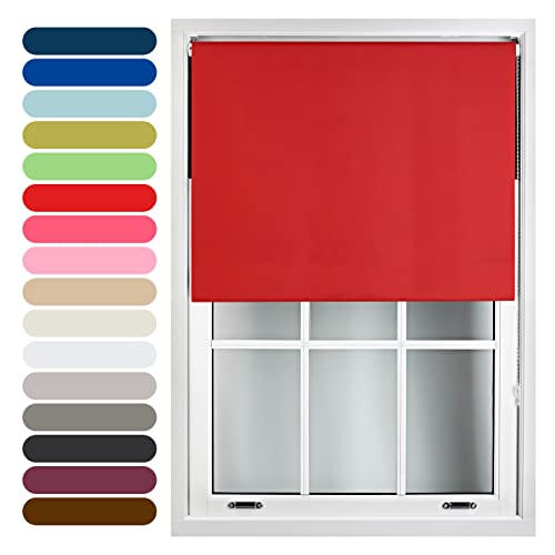 FURNISHED Blackout Roller Blind Trimmable, Red, 90cm x 210cm from FURNISHED