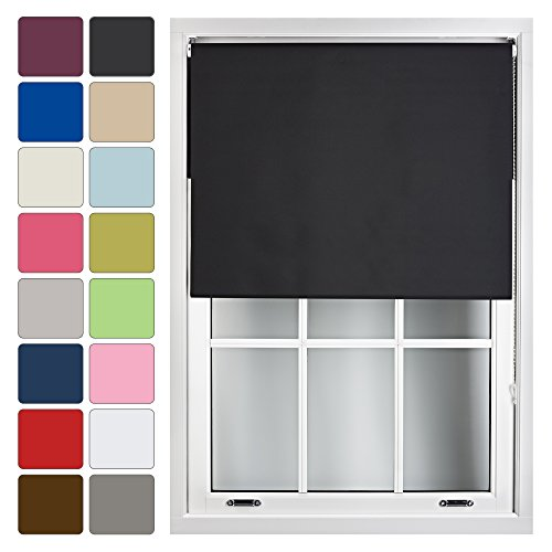 FURNISHED Blackout Roller Blind Made to Measure 14 Sizes 16 Colours Black Up To 90cm from FURNISHED