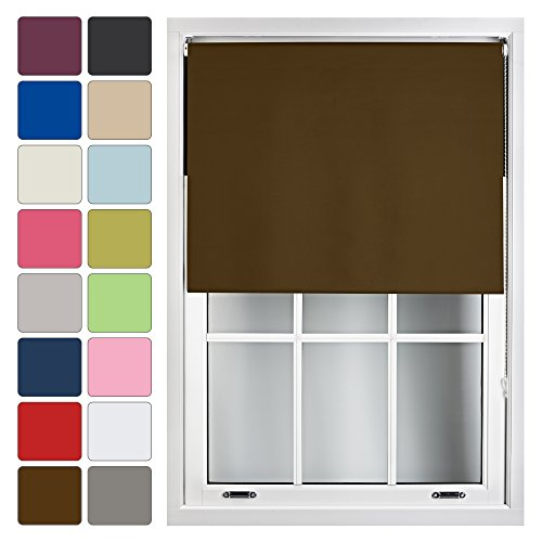 FURNISHED Blackout Roller Blind Made to Measure 14 Sizes 16 Colours Brown Up To 120cm from FURNISHED
