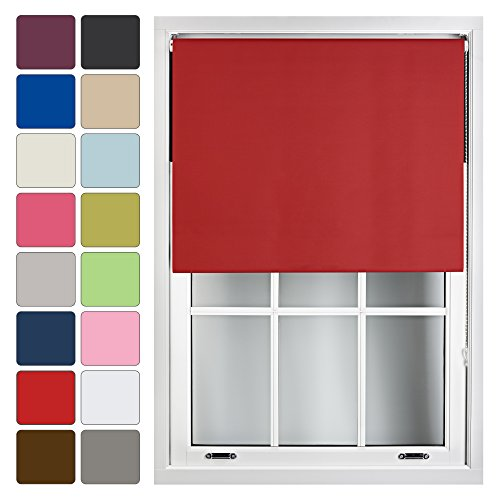 FURNISHED Blackout Roller Blind Made to Measure 14 Sizes 16 Colours Red Up To 210cm from FURNISHED