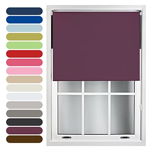 FURNISHED Blackout Roller Blind Trimmable, Aubergine, 60cm x 210cm from FURNISHED