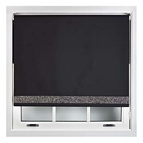 FURNISHED Blackout Roller Blinds With Glitter Trim Trimmable Black 120cm x 165cm from FURNISHED