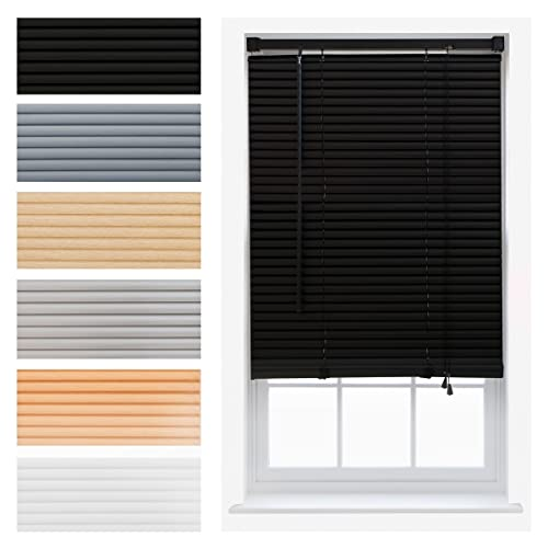 FURNISHED PVC Venetian Window Blinds Trimmable Home Office Blind New - Black 45cm x 210cm from FURNISHED
