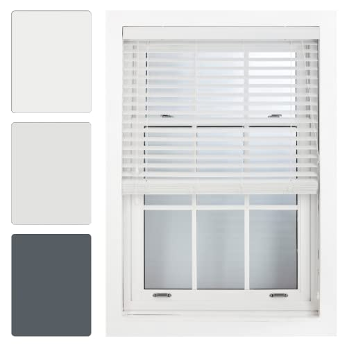 FURNISHED Quality White Faux Wood Venetian Blinds 50mm Trimmable Up To 105cm x 210cm from FURNISHED