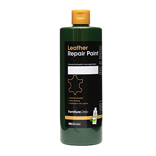 Furniture Clinic Leather Repair Paint & Dye | Over 30 Colours & Shades | Self Seal Colourant for Leather Sofas, Leather Suites, Jackets, Chairs, Shoes, Bags and more (50ml, Dark Green (GRN07)) from Furniture Clinic
