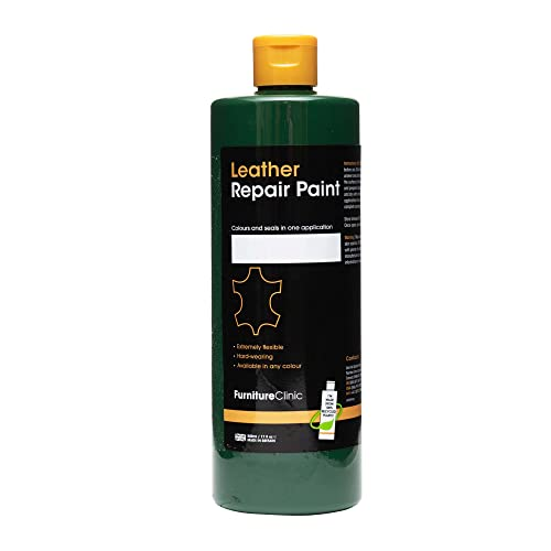 Furniture Clinic Leather Repair Paint & Dye | Over 30 Colours & Shades | Self Seal Colourant for Leather Sofas, Leather Suites, Jackets, Chairs, Shoes, Bags and more (50ml, Forest Green (GRN08)) from Furniture Clinic