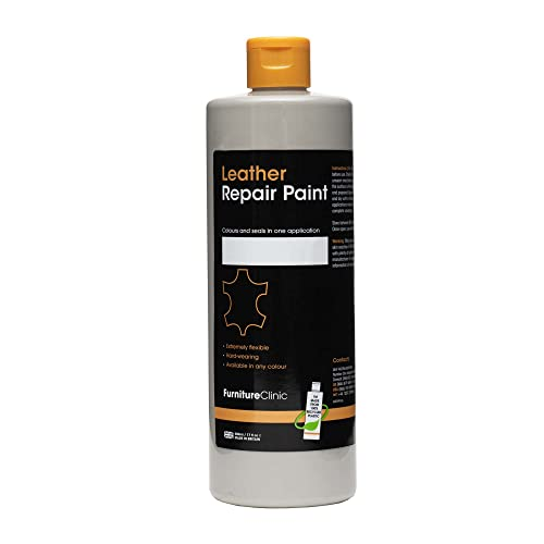 Furniture Clinic Leather Repair Paint & Dye | Over 30 Colours & Shades | Self Seal Colourant for Leather Sofas, Leather Suites, Jackets, Chairs, Shoes, Bags and more (50ml, Light Grey (GRY02)) from Furniture Clinic
