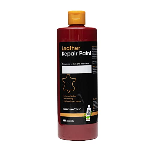 Furniture Clinic Leather Repair Paint & Dye | Over 30 Colours & Shades | Self Seal Colourant for Leather Sofas, Leather Suites, Jackets, Chairs, Shoes, Bags and more (50ml, Red (R05)) from Furniture Clinic
