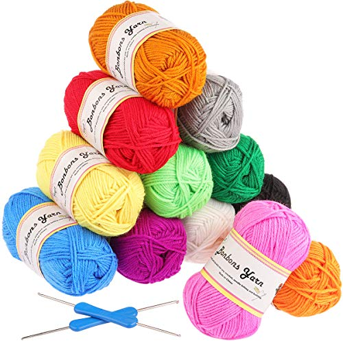 Fuyit Double Knitting Yarn 12x50g 100% Acrylic with 2 Crochet Hooks 1200 Meters Balls of Assorted DK Yarn Set Colourful Chunky from Fuyit