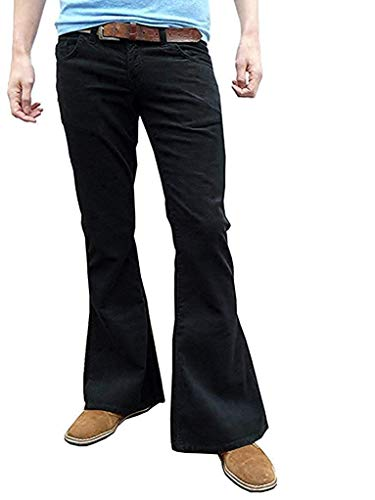 Mens Retro Black Bell Bottoms Cord Flares Vintage 60s 70s Style (36W32L) from Fuzzdandy