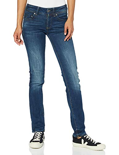 G-STAR RAW Women's Midge Saddle Mid Waist Straight Jeans, Blue (DK Aged 6553-89), 31W / 32L from G-STAR RAW