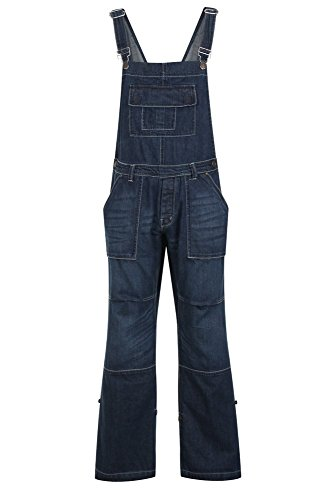 Mens Womens Unisex Denim Dungarees Onesie All in One Piece Bib Overalls 100% Cotton - Dark Wash - Size M from G-Tuff
