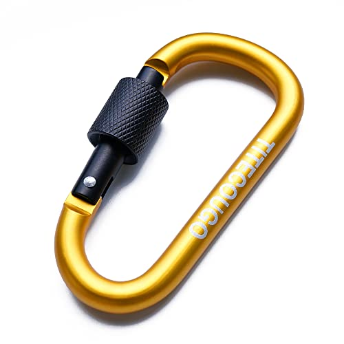 TITECOUGO 2 PCS Aluminum Alloy D-Ring High Strength Carabiner Key Chain Clip Hook For Camping Hiking (Not for Climbing) Yellow Black from TITECOUGO