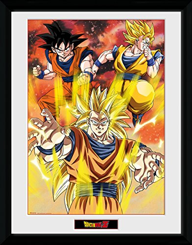 GB eye LTD, Dragon Ball Z, 3 Gokus, Framed Print 30x40cm, Wood, Multi-Colour, 52 x 44 x 3 cm from GB eye