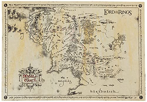 GB eye Lord of The Rings Map Parchment Poster, Wood, Various, 65 x 3.5 x 3.5 cm from GB eye