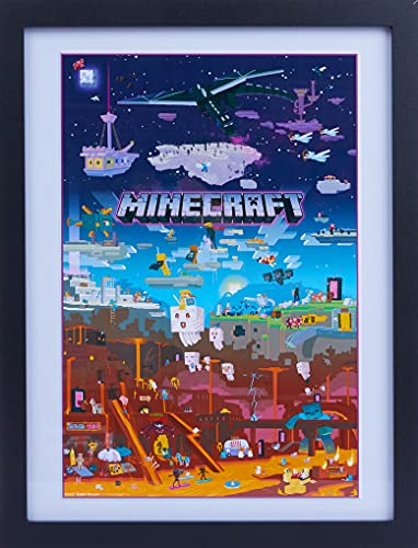 GB eye LTD, Minecraft, World Beyond, Framed Print 30x40cm, Wood, Multi-Colour, 52 x 44 x 3 cm from GB Eye Limited