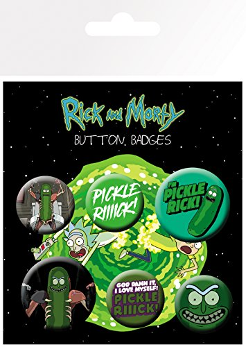 GB eye Morty Pickle Rick Badge Pack, Aluminum, Various, 14 x 0.3 x 10 cm from GB Eye Limited