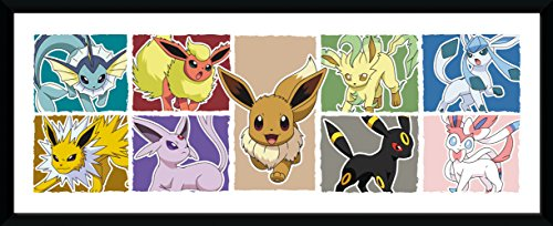 GB eye Pokemon Eevee Evolution Framed Print, Wood Multi-Colour, 79 x 44 x 3 cm from GB Eye Limited
