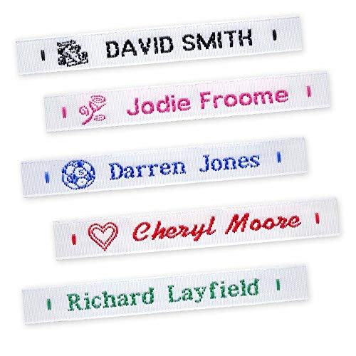 72 Woven Name Labels Sew In School Name Tags Tapes - MESSAGE DETAILS AFTER ORDERING from GB Nametapes