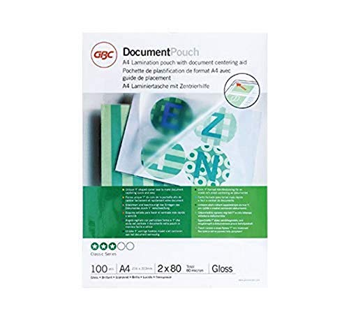 GBC IB585036 A4 2x80 Micron Gloss Laminating Pouches, Pack of 100 from GBC