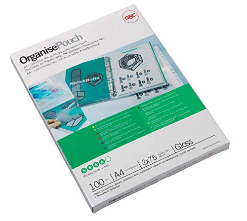 GBC A4+ 2x125 Micron Organise Gloss Laminating Pouches, Pack of 100, 3743156 from GBC