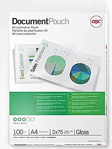 GBC Laminating Pouches Premium Quality 2 x 75 micron A4 Gloss (Pack of 100) from GBC