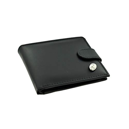 Qualtiy Black Leather Wallet with Silver Plated Rugby Ball Emblem from GIFTSEARCH