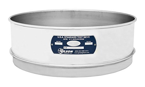 "Gilson V12SF #5 Stainless Steel Sieve, 5, 12"" Diameter, Full Height from GILSON"