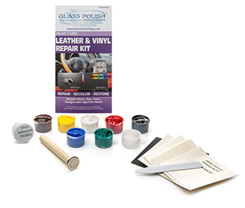 GLASS POLISH GP91002 Leather and Vinyl Repair DIY Kit, Repairs holes, rips, tears, gouges, cigarette burns / Heat Cure from GLASS POLISH
