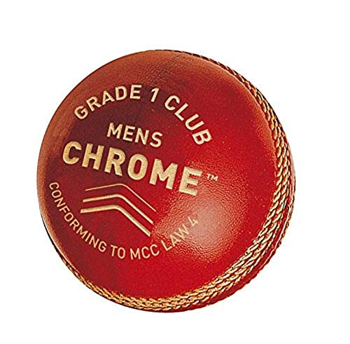 GM Cricket Kids' Chrome Grade 1 Club Cricket Ball, Red, One Size from GM Cricket