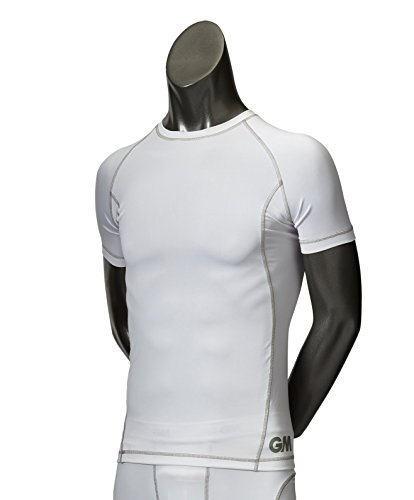 GM Cricket Kid's Teknik Base Layer Short Sleeve Shirts, White/Silver, Medium from GM Cricket